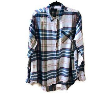 TopShop Plaid Long Sleeve Shirt Sz 10